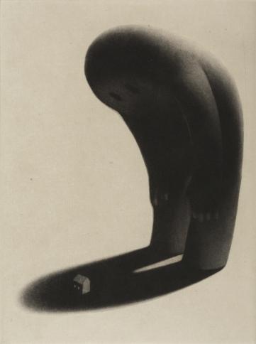 """""""Comme une présence"""" - Manière noire, chine collé - 20 cm x 15 cm."""