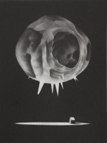 """""""Sous le soleil d'Hadès"""" - Manière noire - 20 cm x 15 cm."""
