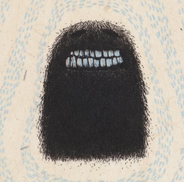 """""""Fantôme revenu à l'état sauvage"""" - Eau-forte, roulette, pointe sèche, chine collé - 10 cm x 7 cm."""